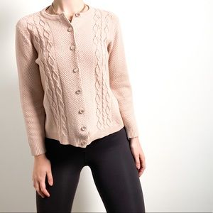 Vintage Blush Pink Chunky Knit Cardigan Sweater